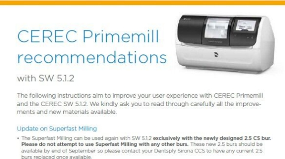 CEREC Primemill recommendactions with SW 5.1.2